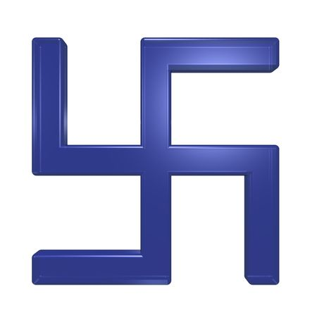 swastik: Blue glass swastika symbol isolated on the white. Computer generated 3D photo rendering.