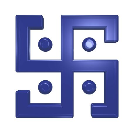 Blue glass swastika symbol isolated on the white. Computer generated 3D photo rendering. photo