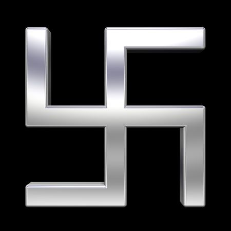 swastik: Chrome swastika symbol isolated on the black. Computer generated 3D photo rendering. Stock Photo