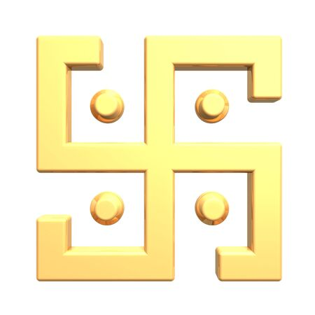 Gold swastika symbol isolated on the white. Computer generated 3D photo rendering. photo