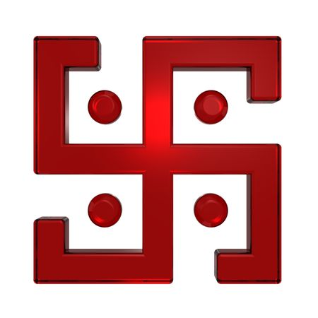 Ruby swastika symbol isolated on the white. Computer generated 3D photo rendering. photo