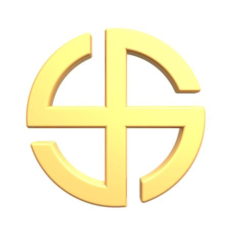 Gold sun cross symbol - broken crossed circle isolated on the white. Computer generated 3D photo rendering. photo