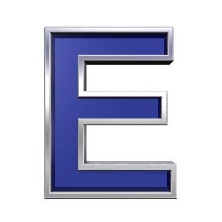One letter from blue glass with chrome frame alphabet set, isolated on white. Computer generated 3D photo rendering. Stock Photo - 4909572