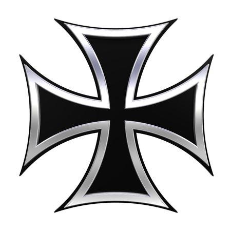 Choppers geïsoleerde zilveren kruis op wit. Computer gegenereerde 3D foto destructie.