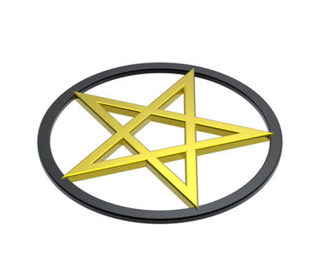 an amulet: Pentagram isolated on white. Computer generated 3D photo rendering. Stock Photo