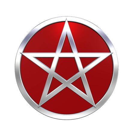 Chrome Pentagram isolated on white. Computer generated 3D photo rendering. Stock Photo