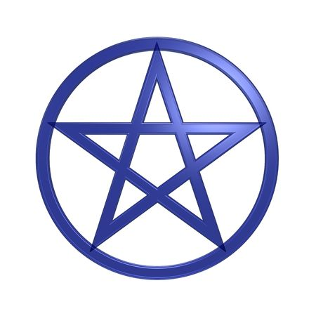 Blue Pentagram isolated on white. Computer generated 3D photo rendering. Stock Photo