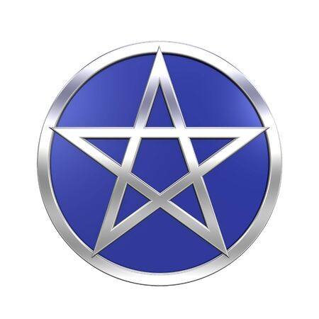 pentacle: Chrome Pentagram isolated on white. Computer generated 3D rendering fotografico.