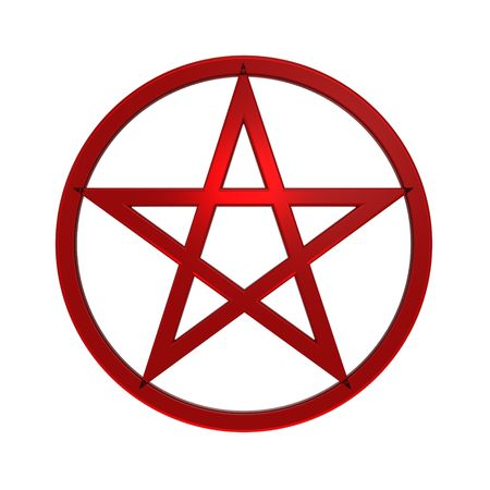 Red Pentagram isolated on white. Computer generated 3D photo rendering.