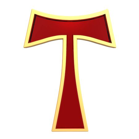 Ruby Tau cross isolated on white. Computer generated 3D photo rendering. photo
