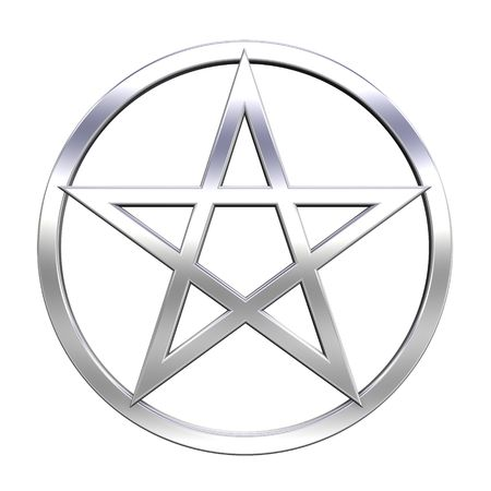 an amulet: Chrome pentagram isolated on white. Computer generated 3D photo rendering.