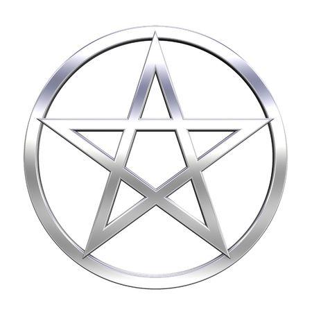 pentacle: Chrome pentagramma isolato su bianco. Generato dal computer foto di rendering 3D.