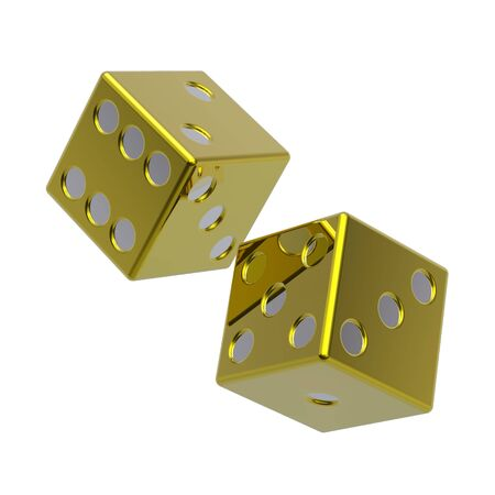 Two gold dices isolated on white. Computer generated 3D photo rendering. photo