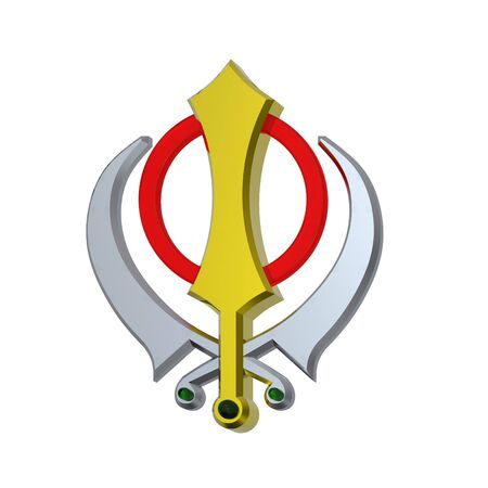 sikhism: Sikhism symbol. Computer generated 3D photo rendering.