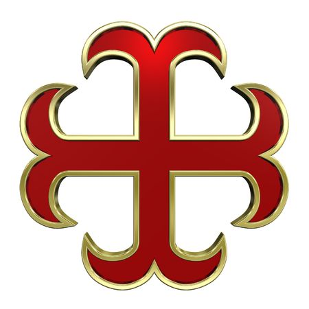 centralized: Red with gold frame heraldic cross isolated on white. Computer generated 3D photo rendering. Stock Photo