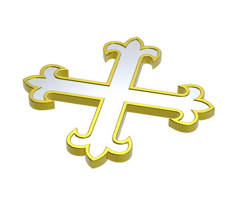 centralized: Silver with gold frame heraldic cross isolated on white. Computer generated 3D photo rendering.