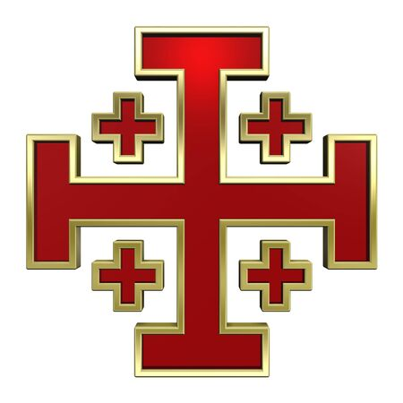 gold cross: Red with gold frame heraldic cross isolated on white. Computer generated 3D photo rendering. Stock Photo