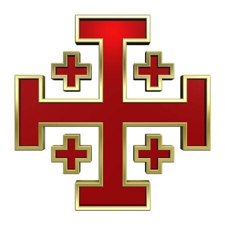 cruz roja: Rojo con cruz de oro marco her�ldico aislados en blanco. Generado por ordenador 3D foto renderizado. Foto de archivo