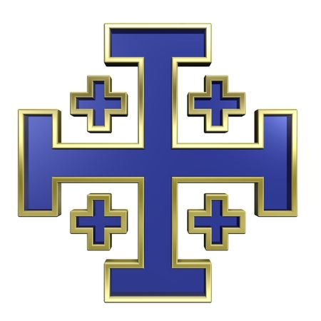 centralized: Blue with gold frame heraldic cross isolated on white. Computer generated 3D photo rendering.