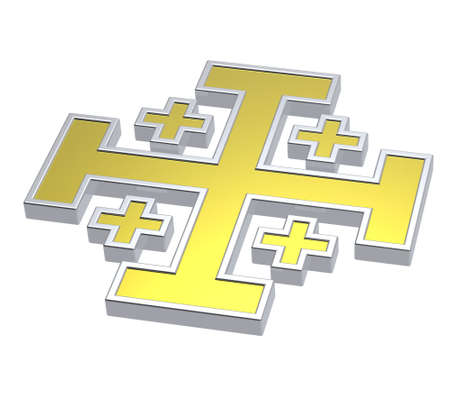 centralized: Gold with silver frame heraldic cross isolated on white. Computer generated 3D photo rendering.