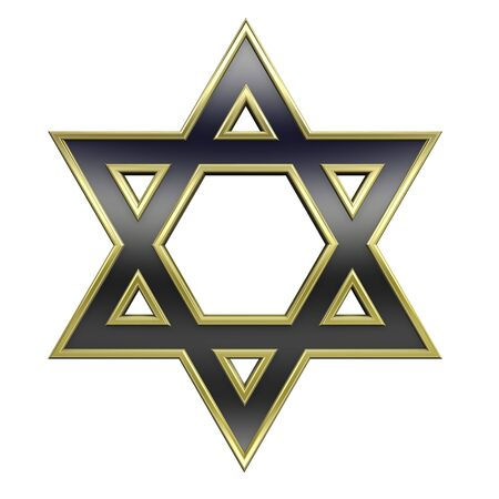 hexagram: Black with gold frame Judaism religious symbol - star of david isolated on white. Computer generated 3D photo rendering. Stock Photo