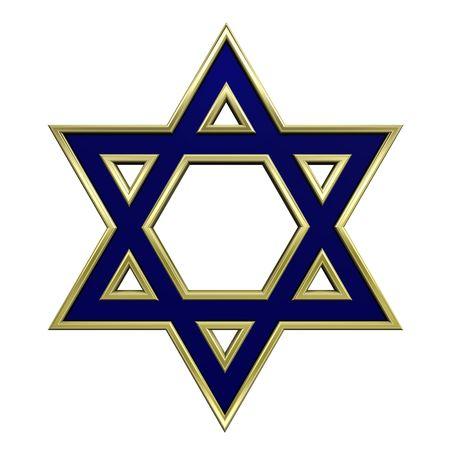 etoile juive: Avec de l'or bleu cadre juda�sme symbole religieux - �toile de david isol� sur blanc. G�n�r�es par ordinateur de rendu 3D photo.