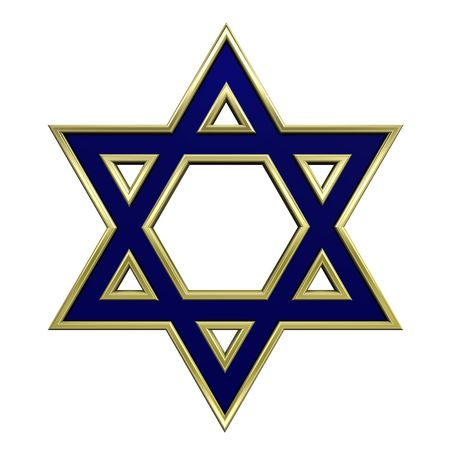 Blue with gold frame Judaism religious symbol - star of david isolated on white. Computer generated 3D photo rendering.