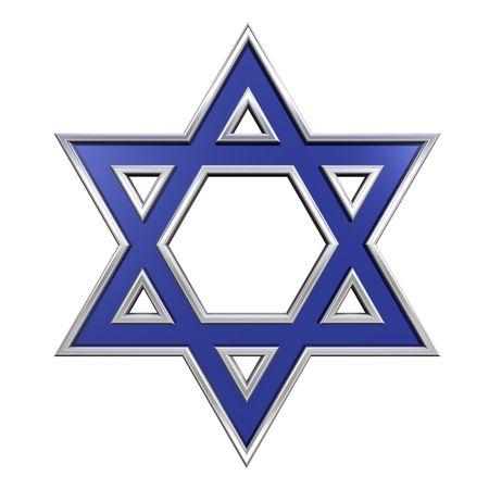 stella di davide: Blu di vetro con telaio cromato giudaismo simbolo religioso - Stella di David isolato su bianco. Generato dal computer foto di rendering 3D.