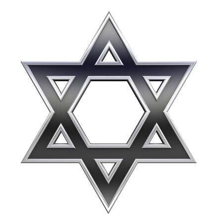 hexagram: Black with chrome frame Judaism religious symbol - star of david isolated on white. Computer generated 3D photo rendering.