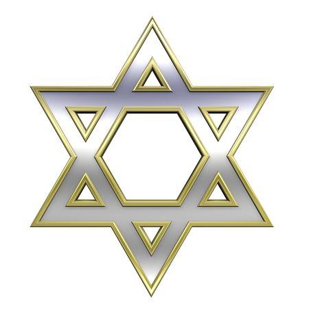 estrella de david: Chrome con el s�mbolo de oro marco juda�smo religioso - Estrella de David aislados en blanco. Generado por ordenador 3D de fotos. Foto de archivo