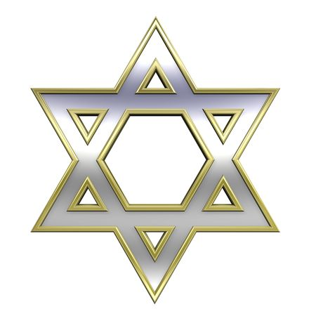 hexagram: Chrome with gold frame Judaism religious symbol - star of david isolated on white. Computer generated 3D photo rendering.