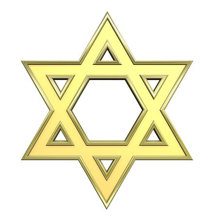 hexagram: Gold Judaism religious symbol - star of david isolated on white. Computer generated 3D photo rendering.