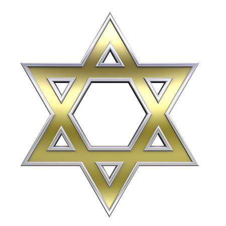 estrella de david: Con marco de oro cromo juda�smo s�mbolo religioso - Estrella de David aisladas sobre fondo blanco. Generado por ordenador 3D foto renderizado.