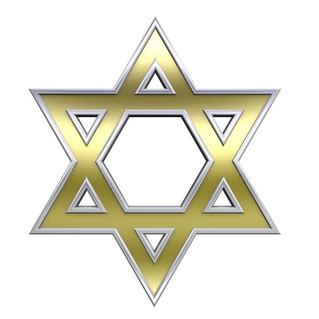jews: Gold with chrome frame Judaism religious symbol - star of david isolated on white. Computer generated 3D photo rendering.