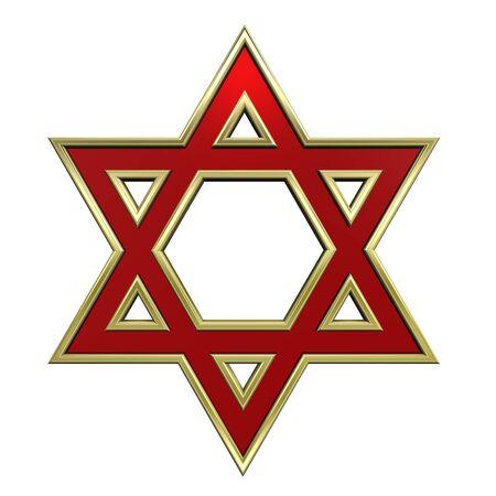 estrella de david: Rub� con marco oro s�mbolo religioso juda�smo - estrella de david aislados en blanco. Procesamiento de fotos 3D generados por ordenador.