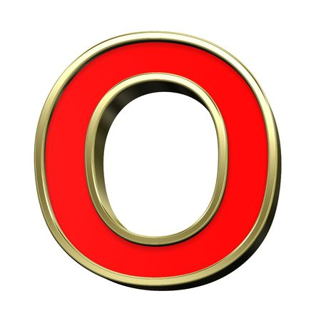 uppercase: One letter from red with gold shiny frame alphabet set, isolated on white. Computer generated 3D photo rendering. Stock Photo