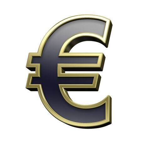 euro: Euro sign from black with gold shiny frame alphabet set, isolated on white. Computer generated 3D photo rendering.