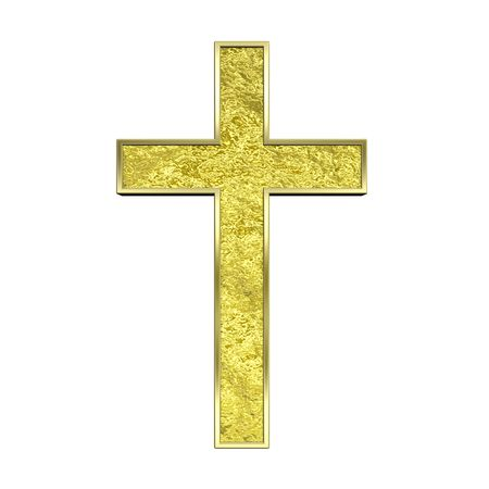 Gold Christian cross isolated on white. Computer generated 3D photo rendering. Stock Photo