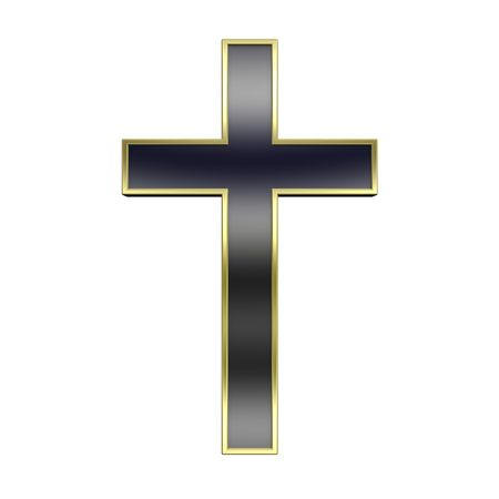 catolic: Black with gold frame Christian cross isolated on white. Computer generated 3D photo rendering. Stock Photo