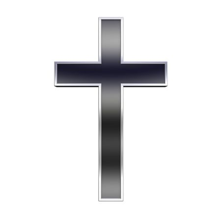 Blak with silver frame Christian cross isolated on white. Computer generated 3D photo rendering. photo