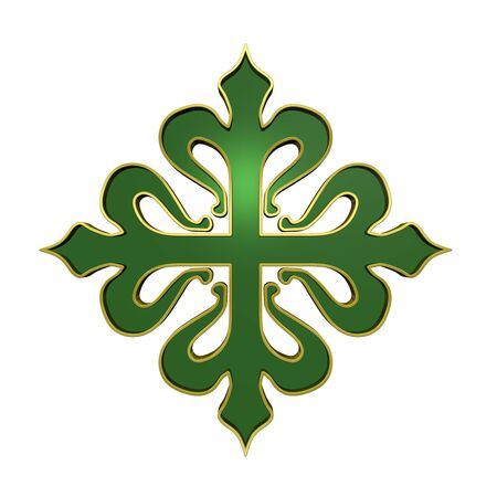 crusades: The cross of Calatrava. Emerald, with gold frame heraldic cross. Computer generated 3D photo rendering.