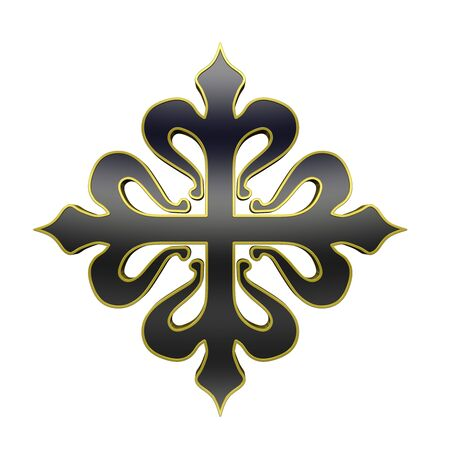 crusades: The cross of Calatrava. Black with gold frame heraldic cross. Computer generated 3D photo rendering.