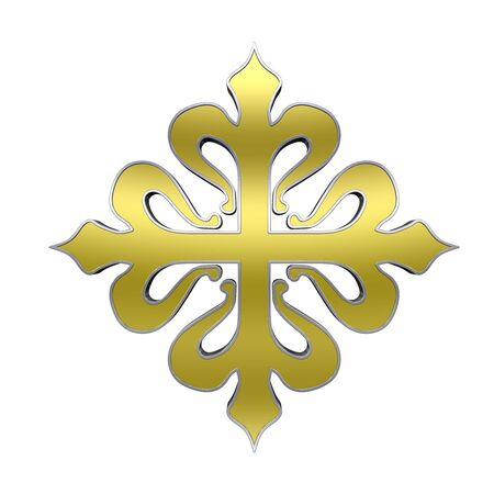 the crusades: The cross of Calatrava. Gold with silver frame heraldic cross. Computer generated 3D photo rendering.