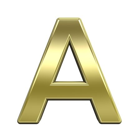 One letter from shiny gold alphabet set, isolated on white. Computer generated 3D photo rendering. photo