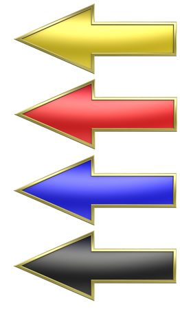 Colors arrows with gold frame. Computer generated 3D photo rendering. Stock Photo - 5180315