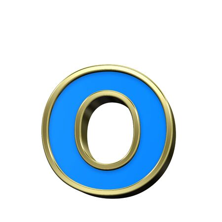 One lower case letter from turquoise with gold shiny frame alphabet set, isolated on white. Computer generated 3D rendering. photo
