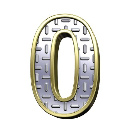 tread plate: One digit from steel tread plate with gold frame alphabet set, isolated on white. Computer generated 3D photo rendering. Stock Photo