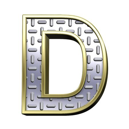 treadplate: One letter from steel tread plate with gold frame alphabet set, isolated on white. Computer generated 3D photo rendering. Stock Photo
