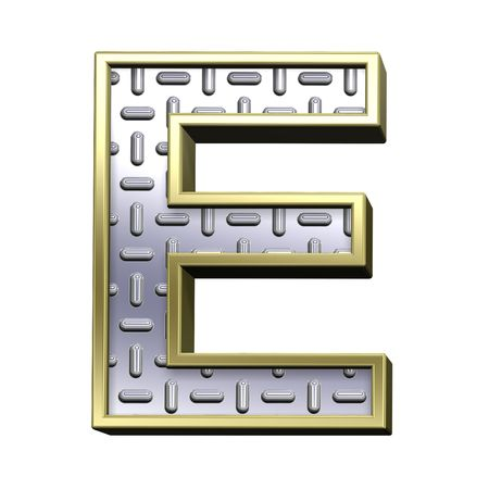 tread plate: One letter from steel tread plate with gold frame alphabet set, isolated on white. Computer generated 3D photo rendering. Stock Photo