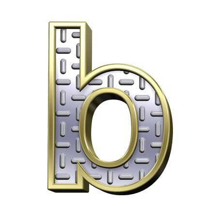 One lower case letter from steel tread plate with gold frame alphabet set, isolated on white. Computer generated 3D photo rendering. Standard-Bild